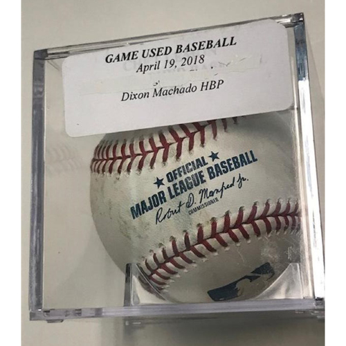 Photo of Game-Used Baseball: Dixon Machado Hit By Pitch