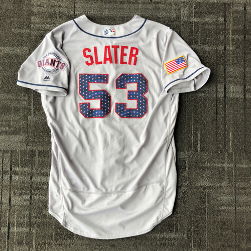 Photo of San Francisco Giants - 2018 Game-Used Stars & Stripes Jersey worn by #53 Austin Slater - Size 46