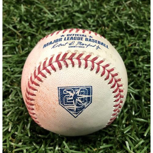 20th Anniversary Game-Used Baseball: Kole Calhoun walk, AL Rookie of the Year Shohei Ohtani single and AL Silver Slugger Mike Trout at-bat (three pitches) off Jose Alvarado - July 31, 2018 v LAA