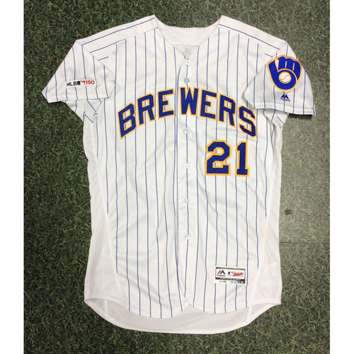 Travis Shaw 2019 Game-Used Royal Ball & Glove Jersey