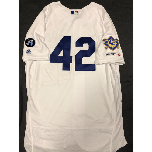 Photo of 2019 Game Used Home #42 Jersey worn by #51 Pitcher Dylan Floro on 4/15 Jackie Robinson Day against Cin. Dodgers 4-3 victory against Cincinnati. Size-46