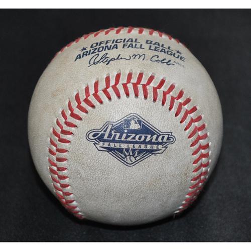 Photo of Game-Used Baseball: 2019 Arizona Fall League - Pitcher: Forrest Whitley (HOU), Batter: Jo Adell (LAA) - Homerun - Bot 3 - 10/19/2019