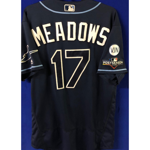 Photo of Game Used Postseason Jersey (WC/ALDS): Austin Meadows  - October 2 (OAK) & October 4, 10 (HOU)