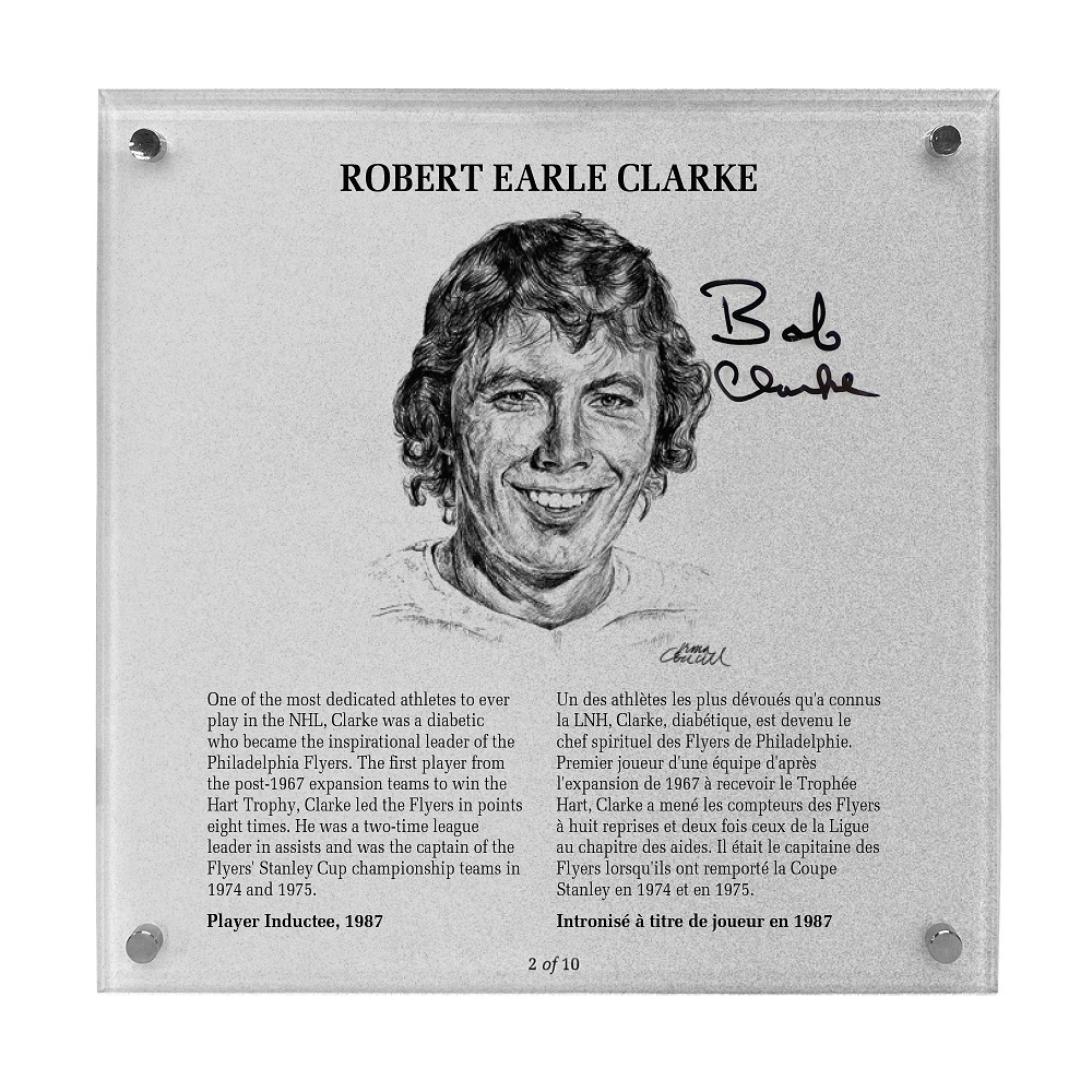 Bobby Clarke Autographed Legends Line Honoured Member Plaque - Limited Edition 2/10