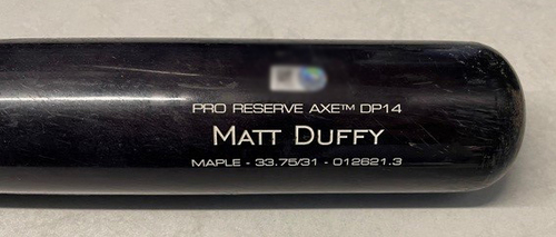 Photo of Matt Duffy Game-Used Cracked Bat -- Devin Williams to Matt Duffy, Flied Out, Bot 8 -- Brewers vs. Cubs -- 4/25/21