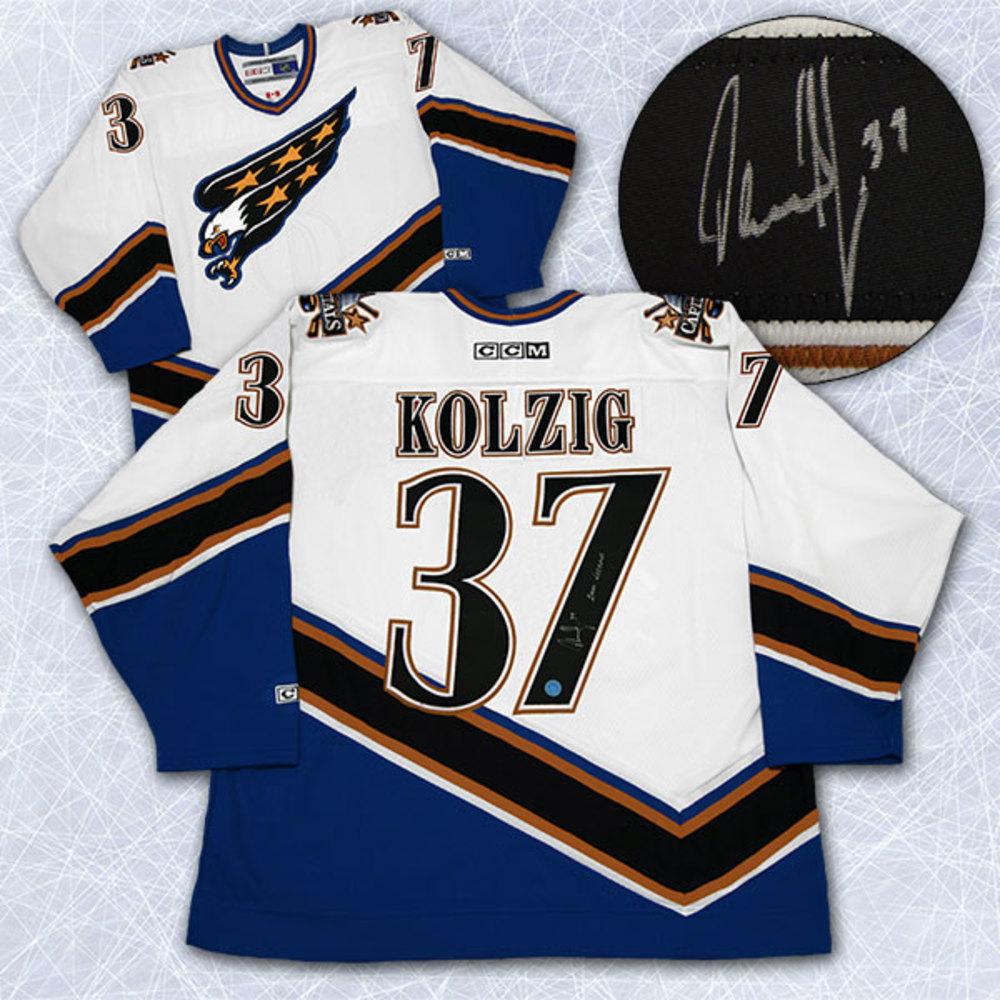 Olaf Kolzig Washington Capitals Autographed 2000 Vezina Retro CCM Hockey Jersey