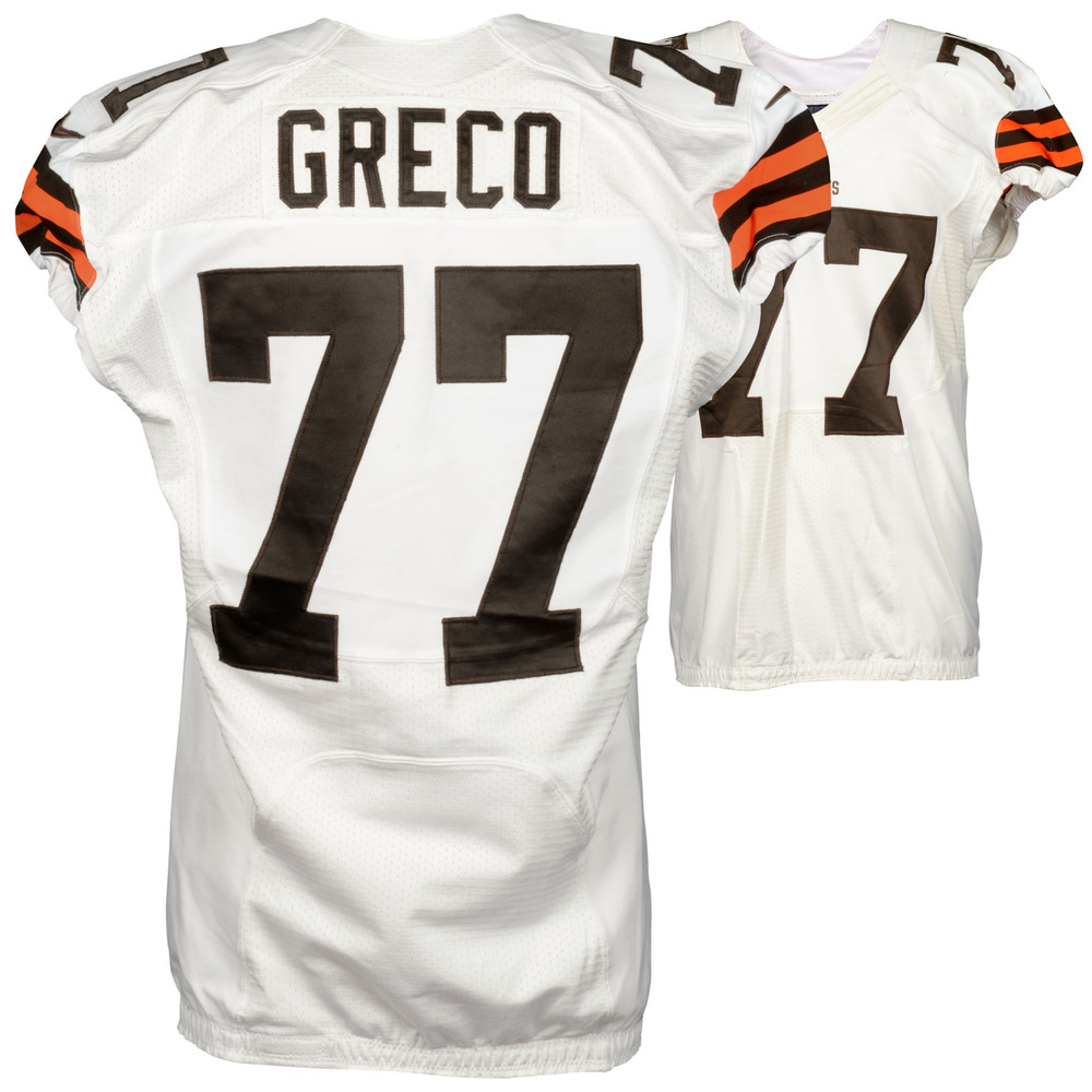 John Greco Cleveland Browns Game Used White #77 Jersey from the 2014 Season - 2