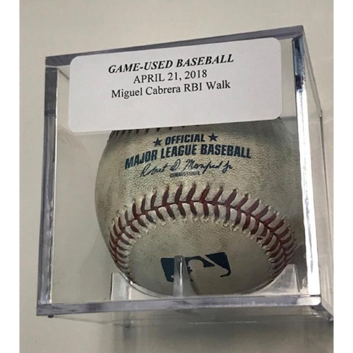 Photo of Game-Used Baseball: Miguel Cabrera RBI Walk