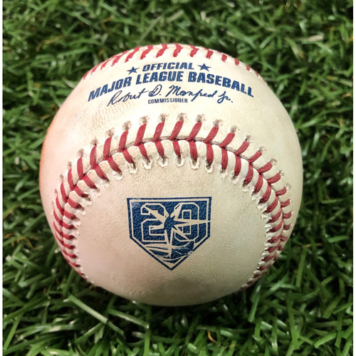 Photo of 20th Anniversary Game-Used Baseball: AL Silver Slugger Mike Trout double off AL Rookie of the Year Nominee Ryan Yarbrough - July 31, 2018 v LAA