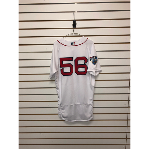 Photo of Joe Kelly Game-Used October 23, 2018 World Series Game 1 Home Jersey