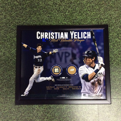 """Photo of Christian Yelich 2018 Commemorative """"NL Most Valuable Player"""" Framed Piece with Game-Used Baseball and Game-Used Base Swatches - Limited Edition #1 / 50"""