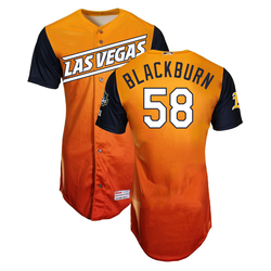Photo of Paul Blackburn #58 Las Vegas Aviators 2019 Road Alternate Jersey
