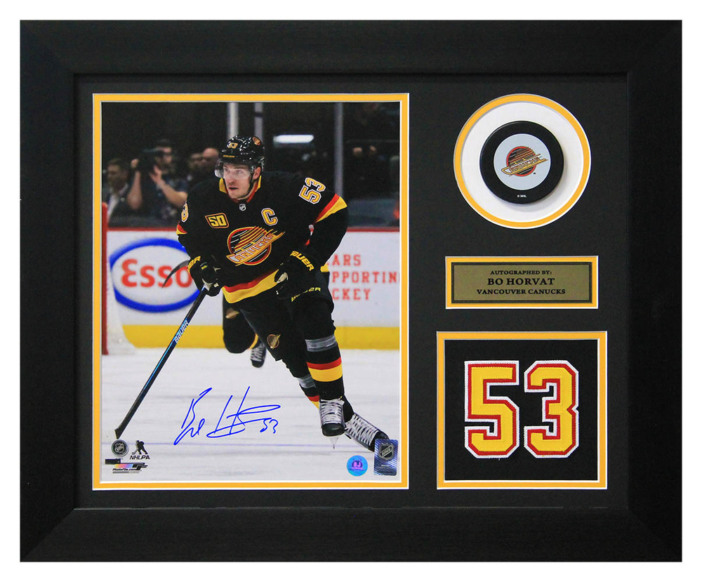Bo Horvat Vacouver Canucks Signed 50th Anniversary Jersey Number 20x24 Frame