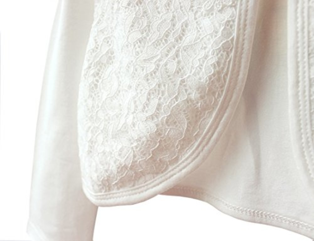 Photo of LiMeiW Child Shawl Cotton lace Girl Air Conditioning shirtr Jacket Cardigan (7-8T, Ivory White)