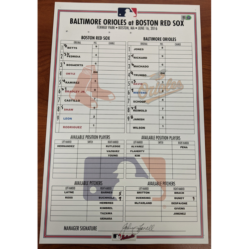 Photo of Red Sox vs. Orioles June 16, 2016 Game Used Lineup Card - Orioles Win 5 to 1