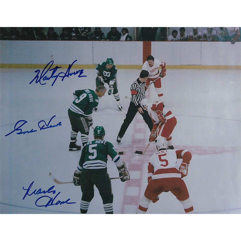 Gordie, Mark & Marty Howe Autographed Hartford Whalers 8X10 Faceoff Photo