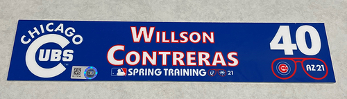 Photo of Willson Contreras 2021 Spring Training Locker Nameplate