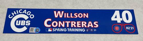 Photo of Willson Contreras 2021 Spring Training Locker Nameplate