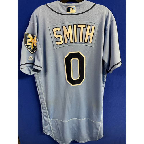 Photo of Game Used Columbia Blue Jersey: Mallex Smith (2R, 3H, SB) - September 9, 2018 v BAL