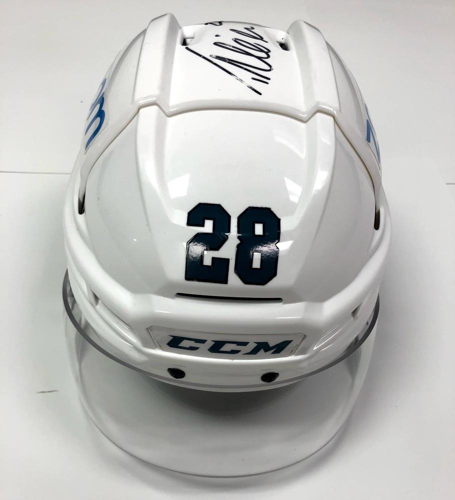 #28 Timo Meier Game Used Helmet - San Jose Sharks