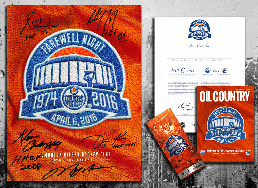 Edmonton Oilers Rexall Place FAREWELL NIGHT PROGRAM Signed by 5