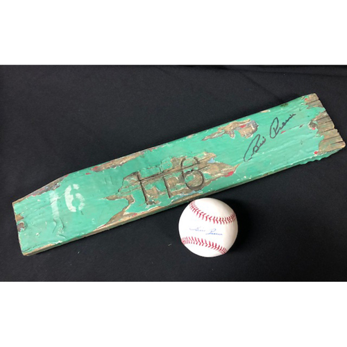 Photo of Billy Pierce Autographed Baseball and Autographed Old Comiskey Park Seat Slat - Not MLB Authenticated
