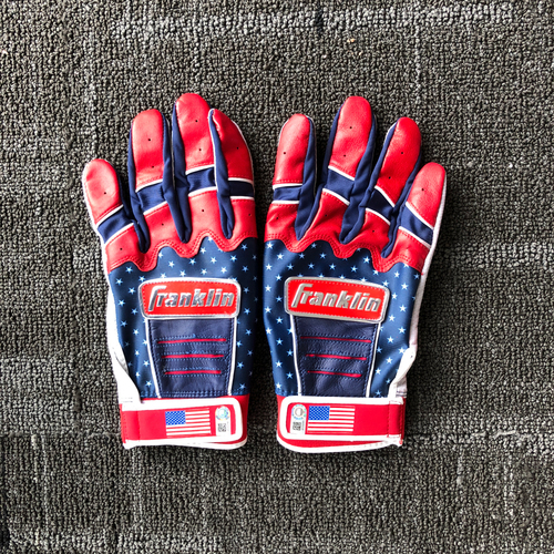Photo of San Francisco Giants - #53 Austin Slater Game-Used 4th of July Batting Gloves (Pair)