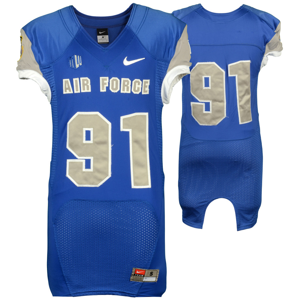 Air Force Falcons Game Used 2013 Blue Football Jersey #91 - Size- S