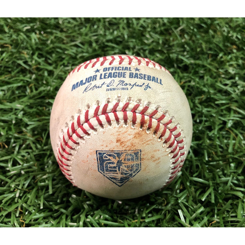 20th Anniversary Game-Used Baseball: AL Silver Slugger J.D. Martinez double off AL Rookie of the Year Nominee Ryan Yarbrough - August 25 v BOS