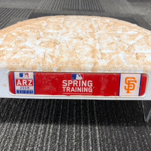Photo of San Francisco Giants - 2019 Game Used Spring Training Base - 1st Base for Innings 1-9 on February 24, 2019 vs CHC