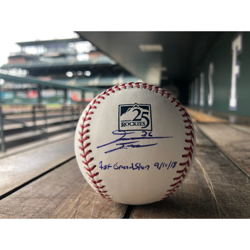Photo of Colorado Rockies David Dahl Autographed 25th Anniversary Baseball - Inscribed 1st Grand Slam 9/10/18