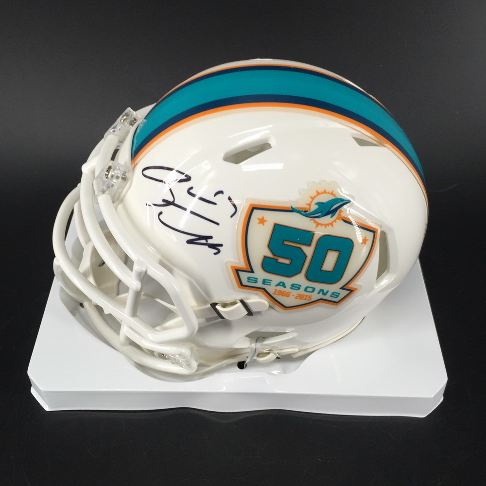 Dolphins - Ryan Tannehill Signed Mini Helmet With 50 SeasonsLogo