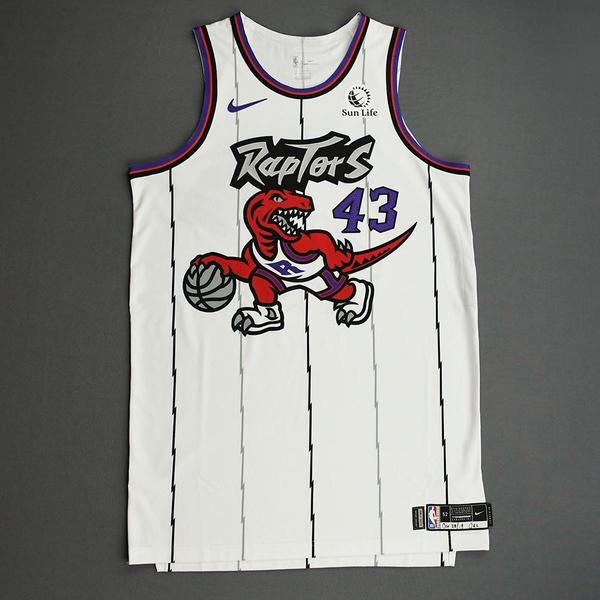 Image of Pascal Siakam - Toronto Raptors - Game-Worn Classic Edition 1995-96 Home Jersey - Scored 24 Points - 2019-20 Season