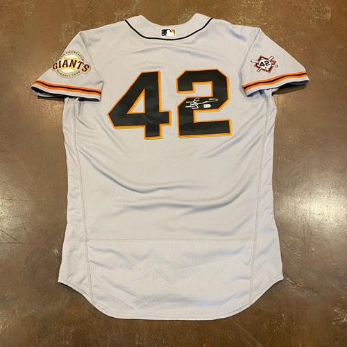 Photo of 2020 Jackie Robinson Day Jersey - Team Issued & Autographed - #7 Donovan Solano - Size 46