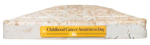 Photo of Game-Used 2nd Base -- Used in Innings 1 through 7 -- Games 1 and 2 -- Childhood Cancer Awareness Day -- 9/5/20