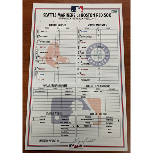 Photo of Red Sox vs. Mariners June 17, 2016 Game Used Lineup Card - Mariners Win 8 to 4