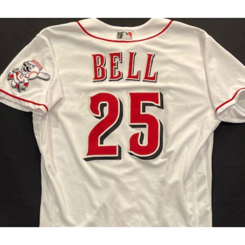 Photo of David Bell - 2020 Home White Jersey - Game-Used - Size 44 - Worn for Reds Opening Day (7/24/20)