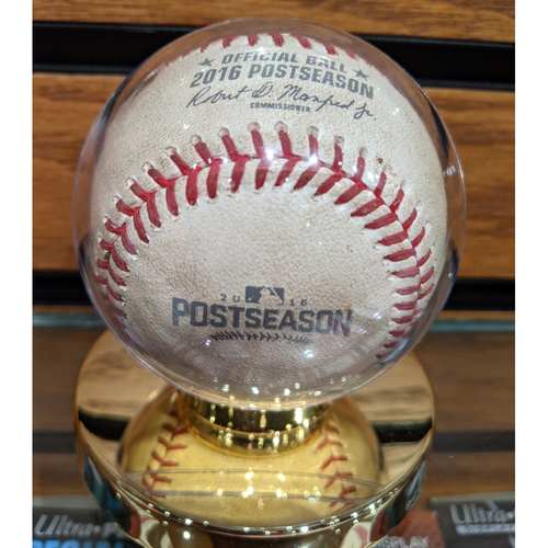 Photo of 2016 ALDS Game 3 October 10, 2016 Red Sox vs. Indians Game Used Baseball - Pomerance to Lindor - Fly Out
