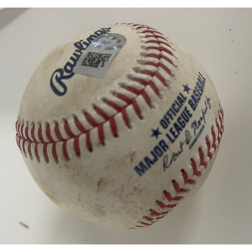 Photo of Game-Used Baseball - Anthony Rizzo Doubles off Pitcher Shane Bieber - 5/11/2021 Cubs at Indians
