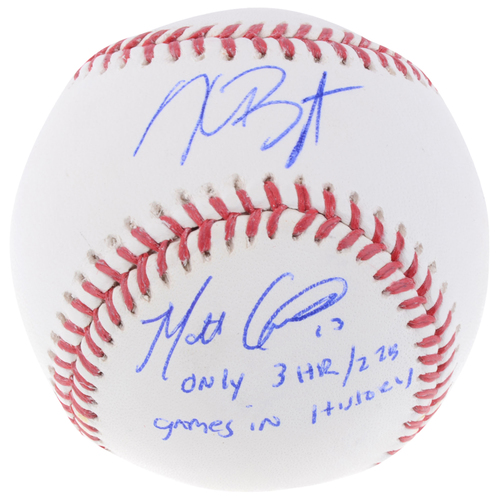 Photo of Kris Bryant and Matt Carpenter Autographed Baseball with Only 3HR/2 2B GM's History Inscription - L. E. of 6