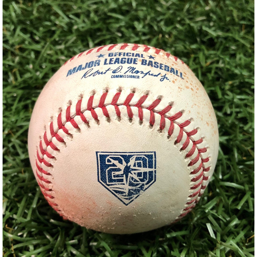 20th Anniversary Game-Used Baseball: Brandon Guyer fly out and AL Silver Slugger Francisco Lindor double off Andrew Kittredge - September 10, 2018 v CLE