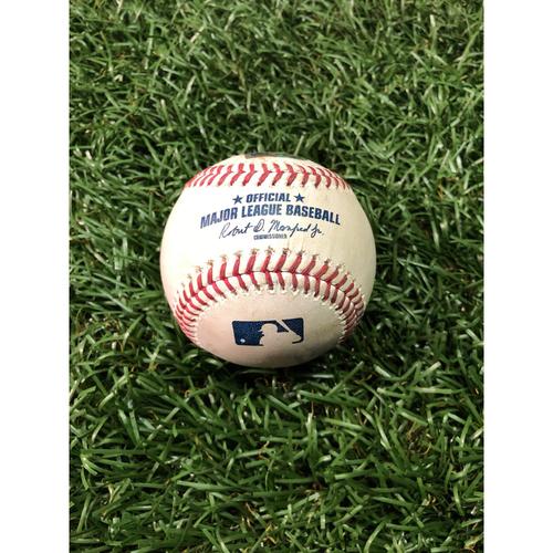 Game Used Baseball: Mookie Betts single and Steve Pearce ball against Ryne Stanek - April 21, 2019 v BOS