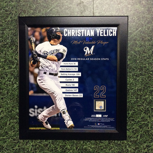 "Photo of Christian Yelich 2018 Commemorative ""NL Most Valuable Player"" Framed Piece with Game-Used Base Swatch - Limited Edition #1 / 100"