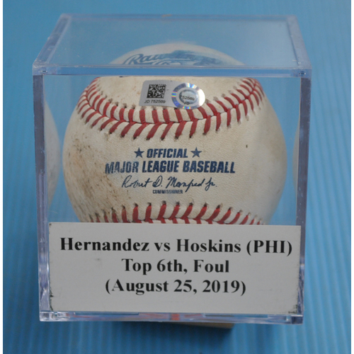 Photo of Game-Used Baseball: Elieser Hernandez vs Rhys Hoskins (PHI), Top 6th, Foul (August 25, 2019)