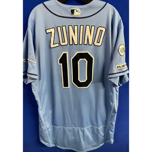 Photo of Game Used Columbia Blue Jersey: Mike Zunino - March 31, 2019 v HOU