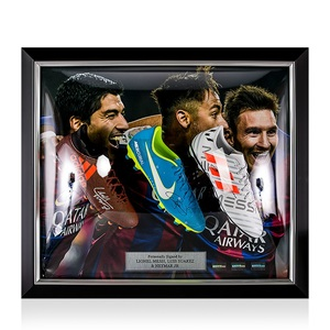 Photo of L/E #1 Lionel Messi, Neymar Jr & Luis Suarez Signed and Framed Barcelona Boots
