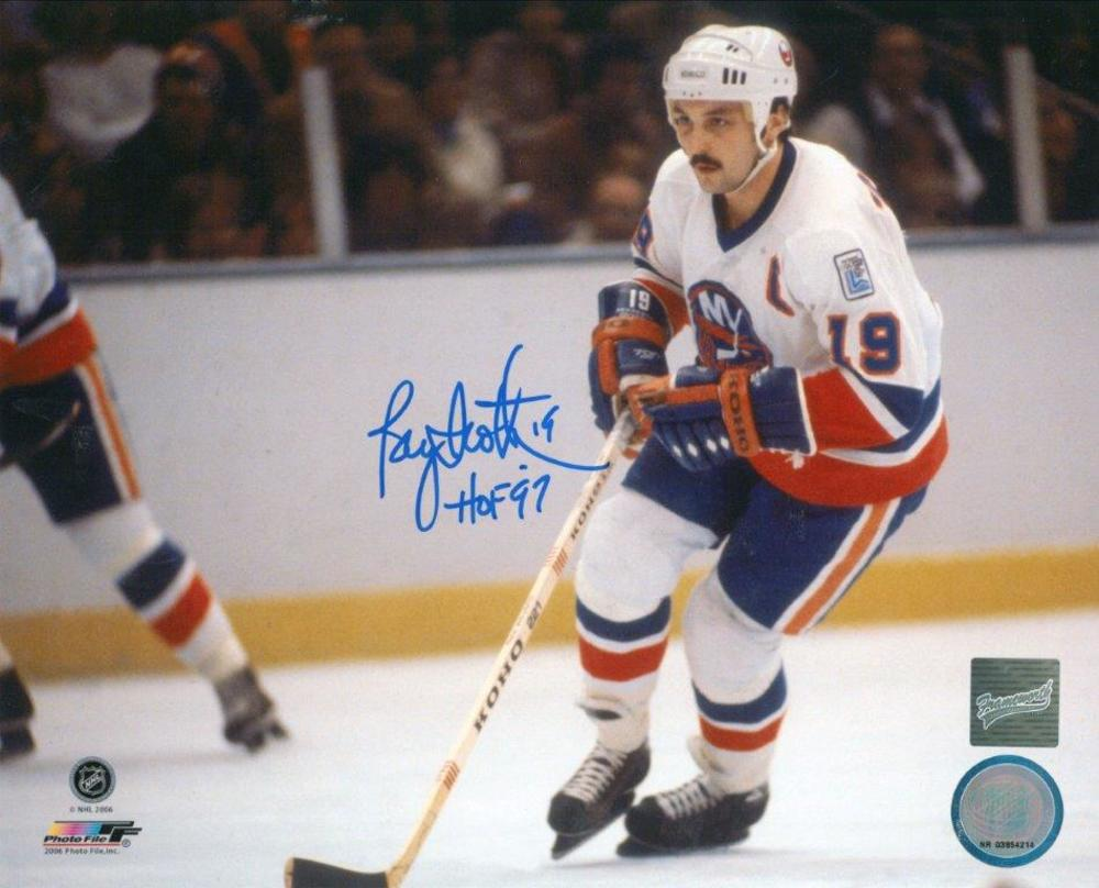 Bryan Trottier Signed 8x10 Unframed Islanders White-H Skating HOF'97 Inscription