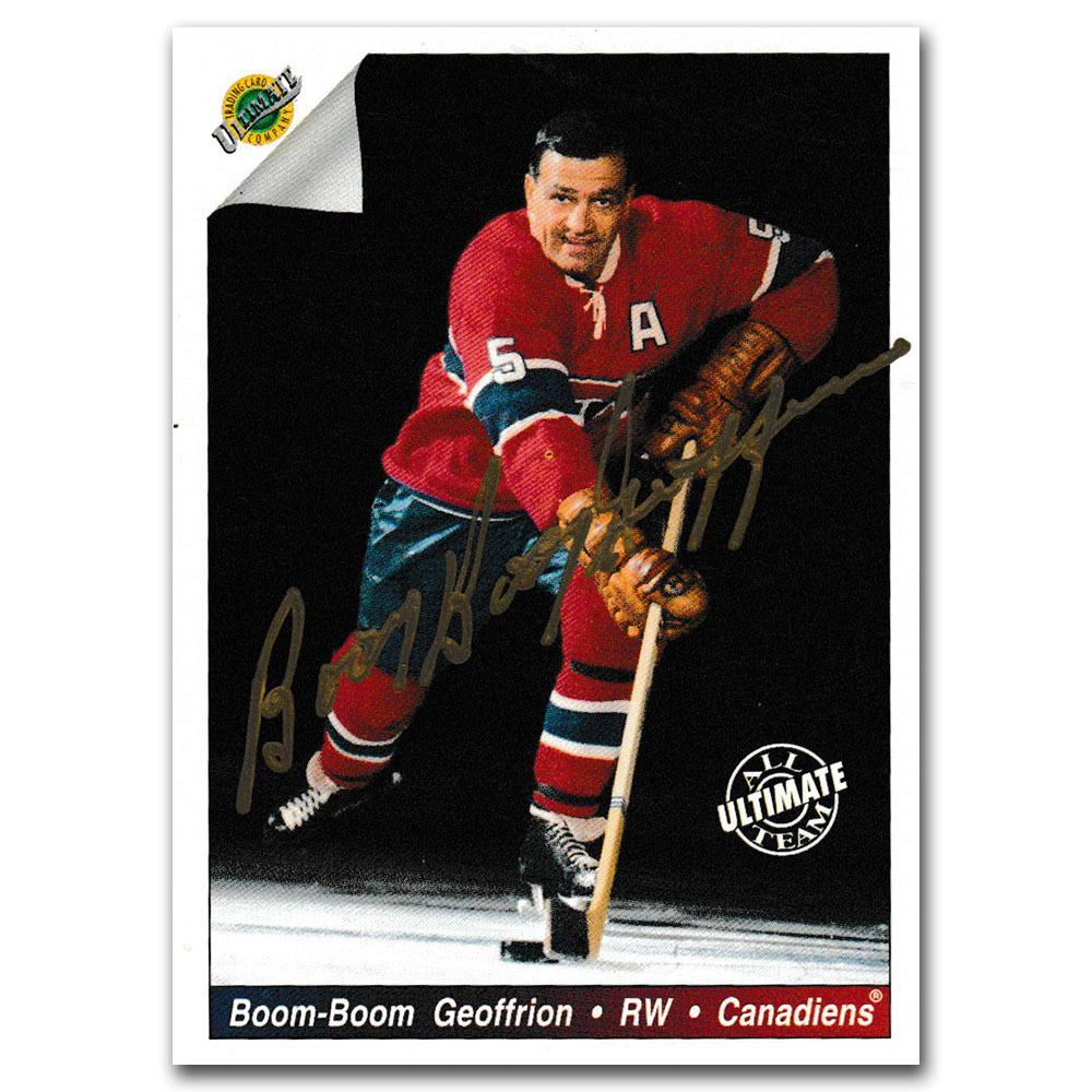 Bernie Boom Boom Geoffrion Autographed 1991-92 Ultimate Original Six Hockey Card
