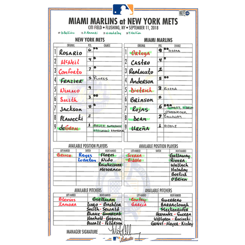 Photo of Game Used Lineup Card - 9/11 Remembrance Logo - deGrom Start, 7 IP, 9 K's - Mets vs. Marlins - 9/11/18