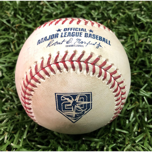 Photo of 20th Anniversary Game-Used Baseball: Ozzie Albies line out and NL Rookie of the Year Ronald Acuna Jr. foul ball off AL Cy Young Winner Blake Snell - May 8, 2018 v ATL